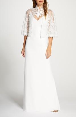 Tadashi Shoji Spaghetti Strap Crepe A-Line Wedding Dress