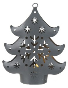 "Northlight 4.5"" Gray Petite Tree Lighted Cut Out Christmas Ornament"