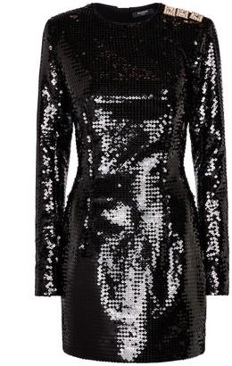 Balmain Embellished sequined minidress