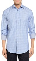 Thomas Dean Classic Fit Jacquard Sport Shirt