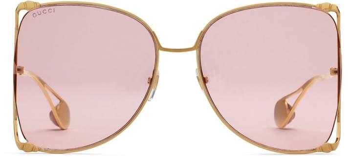 Gucci Oversize round-frame metal sunglasses