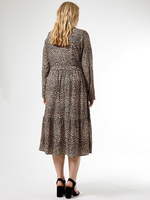Dorothy Perkins Curve Leopard Print Tie Neck Shirtdress - Camel