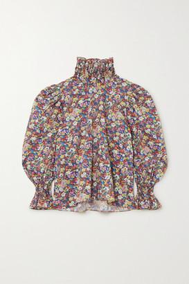 Horror Vacui Collia Floral-print Cotton-poplin Blouse - Blue