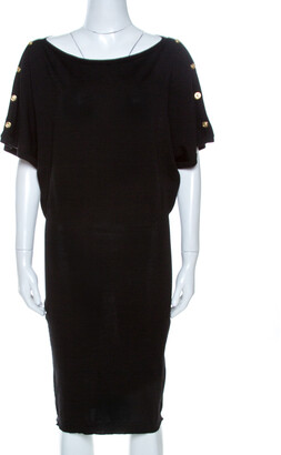 Versace Black Wool Sleeve Button Detail Sweater Dress M