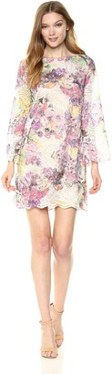 Rachel Roy Women's Bell Sleeve Printed Lace Shift Dress
