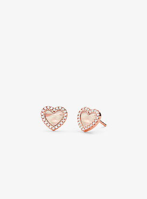 Michael Kors 14K Rose Gold-Plated Sterling Silver Pave Heart Stud Earrings