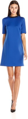 Andrew Marc Women's A-Line Dress with Embellished Neckline