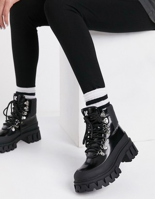 Koi Footwear Syndrome vegan chunky hiker boots in black