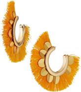 Max Studio Embellished Fan Hoop Earrings, Mustard Yellow