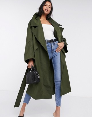 ASOS DESIGN slouchy oversized lightweight trench coat in khaki