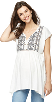A Pea in the Pod Embroidered Knit Woven Maternity Top