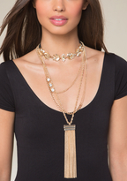 Bebe Layered Lariat & Choker Set