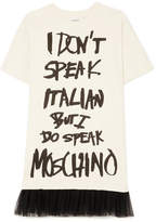Moschino Tulle-trimmed Printed Cotton-jersey Mini Dress - Cream