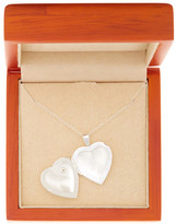Argentovivo Sterling Silver Heart Locket with CZ Chip Necklace