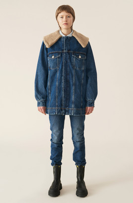 Ganni Teddy Denim Oversized Jacket