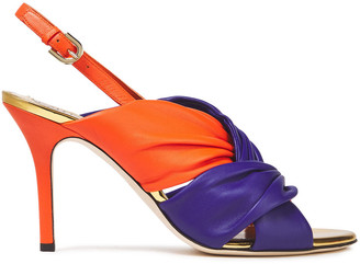 Emilio Pucci Two-tone Twisted Leather Slingback Sandals