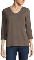 ST. JOHN'S BAY St. John's Bay 3/4-Sleeve Essential V-Neck T-Shirt - Tall