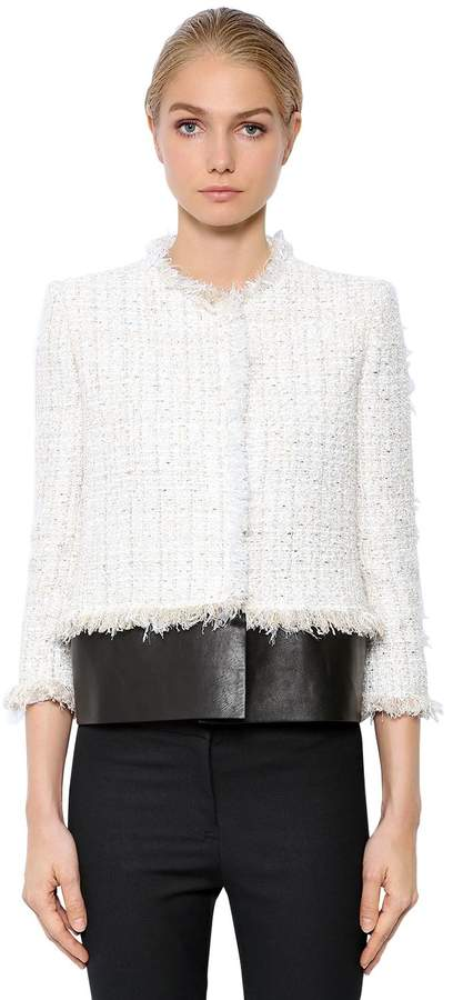 Alexander McQueen Soft Fringed Tweed Jacket W/ Leather Hem