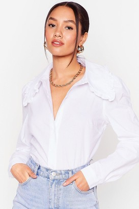 Nasty Gal Womens Collar It a Day Petite Button-Down Shirt - White