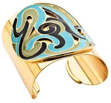 Ben-Amun Ben Amun Wide Gold Enameled Cuff