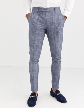ASOS DESIGN wedding super skinny suit trousers in dark blue crosshatch