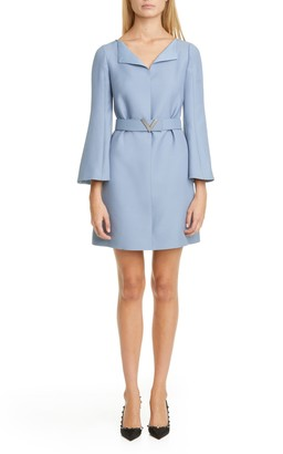Valentino Pave-V Belted Wool & Silk Crepe Couture Minidress