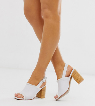 Park Lane wide fit canvas sling back block heels-White
