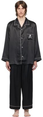 Mastermind Japan Black Silk Embroidered Pyjama Set