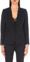 The Kooples Braided-trim single-breasted stretch-wool jacket