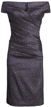 Teri Jon By Rickie Freeman Off-the-Shoulder Animal Print Sheath Dress