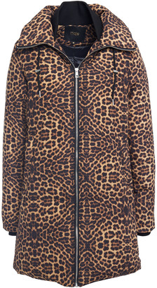 Maje Quilted Leopard-print Shell Hooded Coat