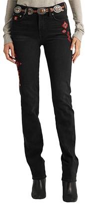Lauren Ralph Lauren Embroidered Straight Jeans in Empire Black Wash (Empire Black Wash) Women's Casual Pants