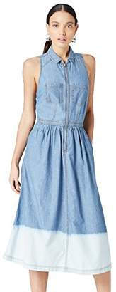 find. Women's Dress with Dip Dye Effect Sleeveless Halter neck style with collar,(Manufacturer size: Medium)