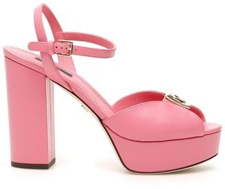 Dolce & Gabbana Monogram Plaque Platform Sandals