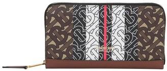 Burberry Monogram Stripe Zip Around Wallet