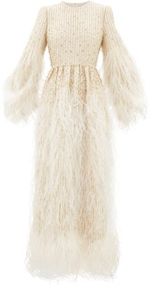 Valentino Feather-trimmed Beaded Wool-blend Gown - Ivory Multi