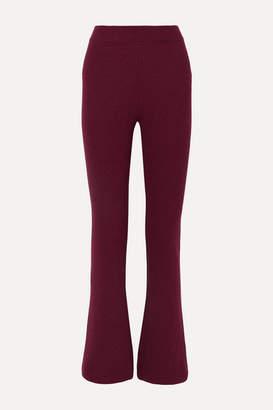 Nanushka Leba Ribbed-knit Flared Pants - Plum