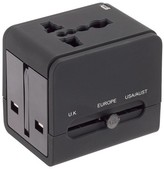 Lewis N. Clark Global Adapter with USB Charger - Black