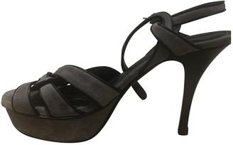 Saint Laurent Tribute Grey Suede Sandals
