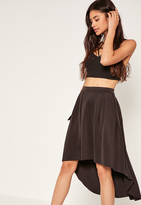Missguided Black Dip Hem Scuba Full Midi Skirt