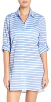 Tommy Bahama Women's Brenton Stripe Boyfriend Shirt Cover-Up