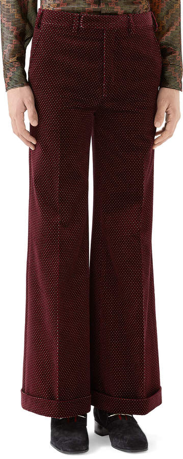 Gucci Men's Velvet Bell-Bottom Trousers, Red
