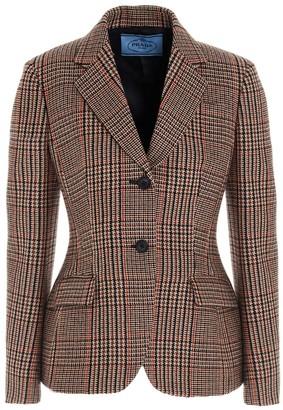 Prada Prince Of Wales Pattern Blazer
