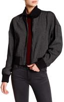 DKNY Mock Neck Linen Bomber Jacket