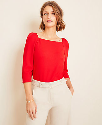 Ann Taylor Petite Puff Sleeve Square Neck Top