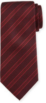 Giorgio Armani Wide-Stripe Silk Tie, Red