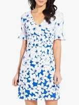 Adrianna Papell Graphic Lily Floral Dress, Blue/White