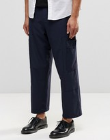 Asos Wide Leg Smart Cropped Pants With Cargo Pockets In Navy