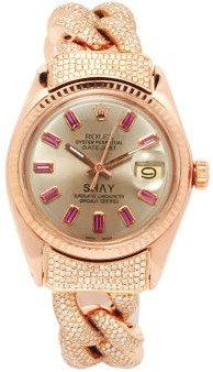 Shay Vintage Rolex Datejust Diamond & Ruby Watch - Rose Gold
