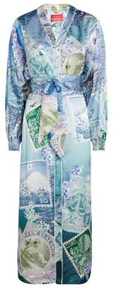 F.R.S For Restless Sleepers Vintage Stamps Print Yio Midi Dress